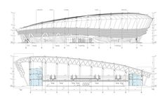 Image 23 of 29 from gallery of Ice Sports Center of the China National Winter Games / Architectural Design and Research Institute of Harbin Institute of Technology. Curling Hall Sections Aquarium Architecture, Swimming Pool Architecture, Stadium Architecture, Architecture Board, Architecture Drawings, Architecture Details, National Games, Architecture Concept Diagram, Sport Hall