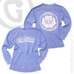 CHI OMEGA CUSTOM GROUP ORDER ON COMFORT COLORS SWEATSHIRTS WITH CRESTS!! loveeee this color