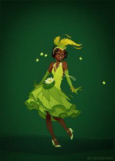 Uma nova concepção dos vestidos das princesas Disney levando em conta os vestidos reais das épocas em que se passam os contos por Claire Hummel. Tiana: com vestido pra dançar jazz nos anos 20