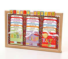 Chore Chart - this is cute, the cards in the envelopes detail how to do each chore. Good for young kids to learn.