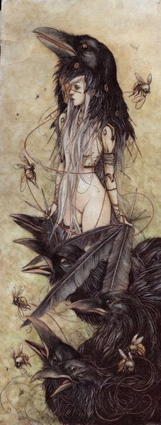 Assuming the Crow Spirit. Art by Jeremy Hush. The crow is a spirit animal associated with life mysteries and magic. Crows serve as totems and spirit guides during many shamanistic rituals. Art And Illustration, Illustrations, Art Noir, Drawn Art, Arte Obscura, Crows Ravens, Art Graphique, Hush Hush, Oeuvre D'art