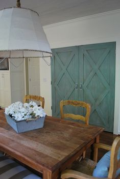 Vreeland Road: Diy pendant-barn doors in Annie Sloan Paint in Duck Egg with a little Paris Gray on top ...