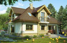 Projekt domu z poddaszem Iliada III o pow. 129,1 m2 z dachem kopertowym, z tarasem, z wykuszem, sprawdź! Dream Home Design, House Design, Design Case, Home Fashion, Portal, Cabin, Mansions, House Styles, Home Decor