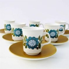 J G Meakin Topic Coffee Set 6 Cups Saucer 60's Retro Vintage