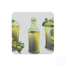 Hard Plastic coasters with cork back - set of 6 - in Olive Oil Motif