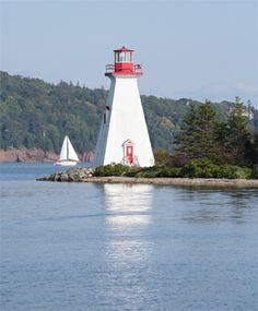 Located on the northeast point of Kidston Island, marking the entrance to Baddeck Harbour. Lighthouse Painting, Cape Breton, Let Your Light Shine, Haunted Mansion, Nova Scotia, Windmill, Boats, Entrance, Sailing