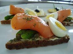 Appetizer: roasted asparagus, smoked salmon egg, and fresh mozzarella on crostini.