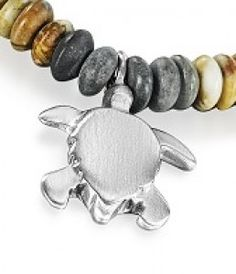 Reef Jewellery - Small Solid Silver Turtle Pendant on Picasso Jasper Bead Necklace - Scuba Diving
