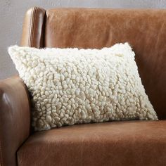 """Free Shipping.  Shop toodle 18""""x12"""" pillow with down-alternative insert.   Airy poufs of 100% embroidered wool add just the right amount of cush-factor to any couch, chair or bed.  It's like a poodle mixed with a lamb on a cloud.  Reverses to solid ivory."""