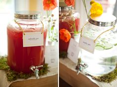 Refreshing beverages at an elegant baby shower