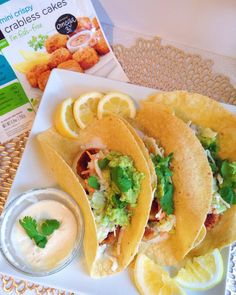 Made some tacos for dinner with gardein crabless cakes! I've been trying to make a few things with fake meat for my mom who just went vegan! She loved these and the rest of my family did too. Made some vegan coleslaw tartar sauce and horseradish sauce using Hampton Creek Just Mayo(best vegan mayo I've tried). Also put some guacamole salsa and Sriracha on them. These were so good #vegan #veganism #govegan #whatveganseat #veganfood #food #fit #fitfood #vegansofig #vegansofinstagram #vega...