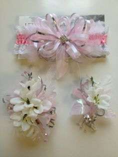 Light pink prom corsage and matching prom garter.  letsdancegarters.com