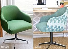 office chair upholstery. Steelcase Office Chair Makeover | SpacePinterest Makeover, Upholstery And Vintage