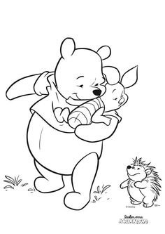 Winnie the Pooh Coloring For Kids, Coloring Pages, Coloring Stuff, Winnie The Pooh, Stained Glass, Diy And Crafts, Snoopy, Sketches, Drawings