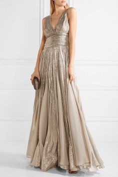 Silver silk-blend lamé, beige chiffon Concealed hook and zip fastening at back 66% silk, 34% Lurex; lining: 100% silk Dry clean