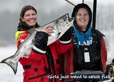Girls just want to catch fish. The women are landing some 'big ass' salmon, Naden Harbour, BC.