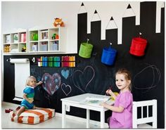 Ideas Kids Room Diy Playrooms Chalk Board For 2019 Kids Playroom Storage, Toddler Playroom, Baby Decor, Kids Decor, Chalkboard Wall Playroom, Kids Art Easel, Cool Kids Rooms, Kids Room Design, Baby Boy Rooms