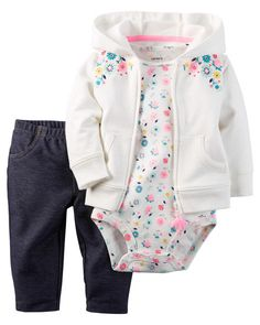 In a soft terry cotton, this embroidered floral cardigan set is complete with a soft cotton bodysuit and pants.