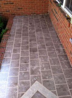 Front Porch Faux Tile using paint. Concrete Front Porch, Porch Tile, Porch Flooring, Diy Flooring, Flooring Ideas, Corner Sink Kitchen, Small Front Porches, Diy Porch, Porch Ideas