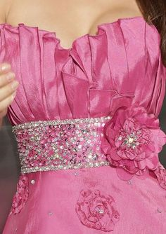 <3<3<3PRETTY PINK - FLOWERS & BLING -  WITH PLEATS - GOT IT ALL<3<3<3