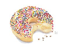 Orignal Donut Watercolour - Sprinkle Donut Painting, Kitchen Art, Food Art, 7x5. $15.00, via Etsy.