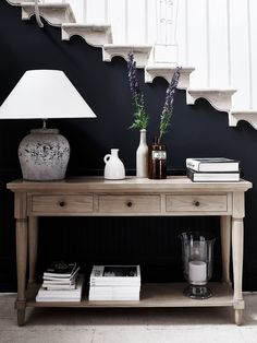 Black sofa table decor inspiration of black hallway table and best console table decor ideas on home design foyer decorating cookies with buttercream Sofa Table Decor, Entryway Console Table, Entryway Decor, Table Decorations, Console Tables, Hall Tables, Hall Table Decor, Console Table Styling, Sideboard Table