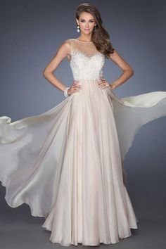 2014 High Neck Beaded Bodice A Line Floor Length With Layered Flowing Chiffon Skirt