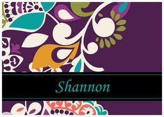 Vera-inspired personalized notecards in Plum Crazy. 5x7 or 4.25x5.5. Great gift idea!!