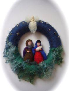 Wreath JosephMaryJesusAngelChristmas. Needle Felted. by FilzArts