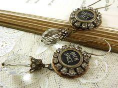 Typewriter Key Earrings Repurposed Upcycled Jewelry Antique Vintage Rhinestones Crystal Teardrop Brass. $32.00, via Etsy.