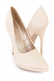 Nude Pointed Toe Single Sole Pump High Heels Faux Leather