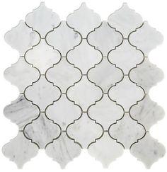 $16.95 Carrara (Carrera) Venato Polished Arabesque Marble Mosaic Tile