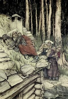 Arthur Rackham- Peer Gynt -Aase on the mill house roof