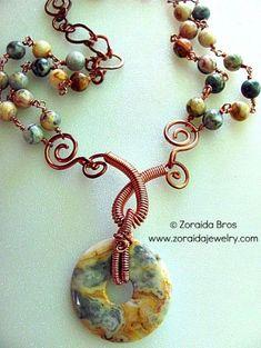 Crazy Lace Agate and Copper Necklace | zoraida ArtFire Gallery