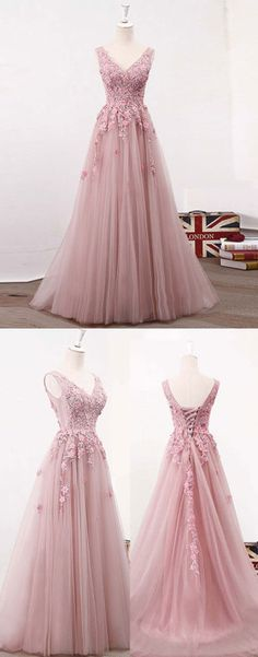 pink long prom dress, lace evening dress, formal dress