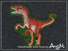 Aufnäher Dinosaurier Velociraptor Applikation Dino von AnCaNi auf DaWanda.com