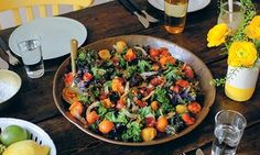 Warm salad of roasted kale, coconut and tomatoes.