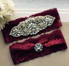 Burgundy Red Wedding Garter Set NO SLIP grip by AllThingsBridalCo