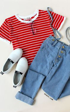 Red Striped Contrast Trim Crop T-shirt