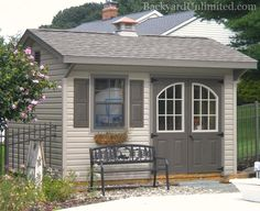 10x12 quaker garden shed with arched 9 lite wndows in painted fiberglass