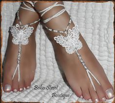 Pair Crochet Butterfly Yoga Foot Beach barefoot sandals Boho