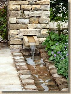 Rill and fountain with dry stone walling