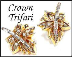 1949 Crown Trifari Rhinestone Earrings by MarlosMarvelousFinds