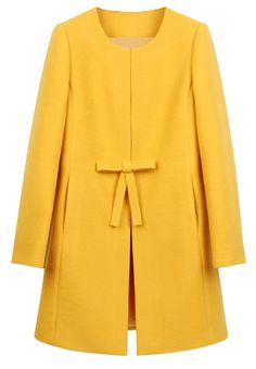 Yellow Bowknot Front H-line Simple Wool Blend Coat 33.06