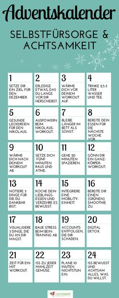Self-care and mindfulness advent calendar - you want to use December and do something for yourself and your health, well-being and fitness? This advent calendar offers you 24 doors to fitness, nutriti Advent Calenders, Stress, School Calendar, Noel Christmas, Xmas, Woodland Party, Health Education, Self Care, Feel Good