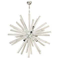 Italian Murano Glass Sputnik or Starburst Chandelier | From a unique collection of antique and modern chandeliers and pendants  at https://www.1stdibs.com/furniture/lighting/chandeliers-pendant-lights/