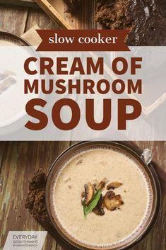 Crock Pot Soup, Slow Cooker Soup, Slow Cooker Recipes, Crockpot Recipes, Cooking Recipes, Cooking Ideas, Vegetarian Recipes, Healthy Recipes, Crockpot Mushrooms