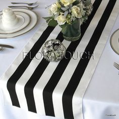 Black and White Striped Table Runner Wedding Table Runner with black stripes on the borders - READY TO SHIP! Dining Table Runners, Table Runner Size, Striped Table Runner, White Bridal Shower, White Shower, Bridal Showers, Striped Wedding, Black And White Wedding Theme, Deco Table