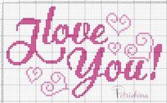 Love you - schema punto croce - cross Stitch - Kreuzstich - Punto de Cruz