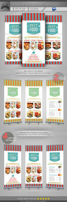 Retro Taste Food/Restaurant Roll-up Banner #GraphicRiver [ Corporate Roll-up Banner – Retro Taste Food/Restaurant] 30×70 in +1.0in Bleed, CMYK Print Ready. Fully-Layered Photoshop PSD CS4 or higher – 100DPI (increasable / resizable) Easy to customize and Change Color. 4 Layouts & 2 Color theme pre-mad One-click Color Theme Change on 'Layer Comp' panel. Multipurpose Corporate Roll-up Template. Excellent for your multipurpose corporate usage. Font used: Aleo,Winsdom Script,Bebas Neue…